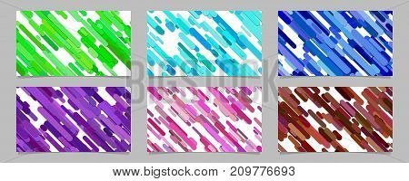 Seamless abstract random rounded diagonal stripe pattern card background template set - vector illustrations with stripes in colored tones