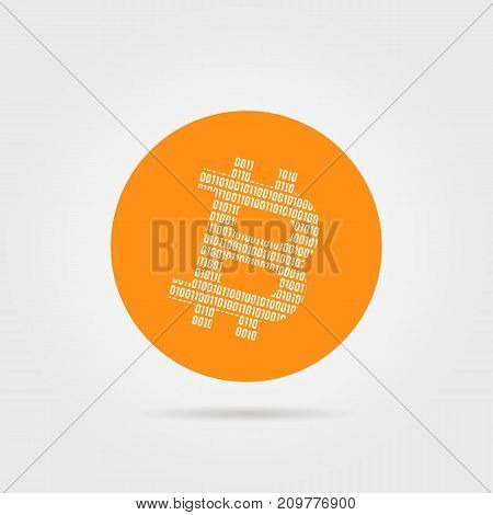 orange bitcoin logo with shadow. concept of peering, private pay, closed swap, one zero code, p2p, cryptography, virtual. flat style trend modern brand design vector illustration on white background
