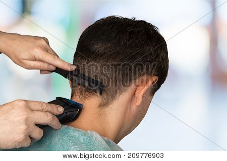Hair man cut haircut clipper two people young women