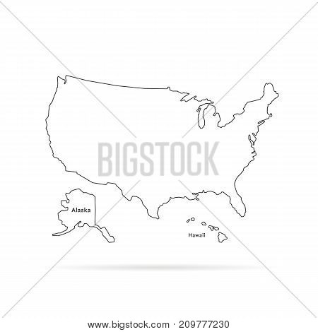thin line usa map with other territories and shadow. concept of mapping, hand drawn decoration, topography, trip, education, federal. flat style trend modern vector illustration on white background