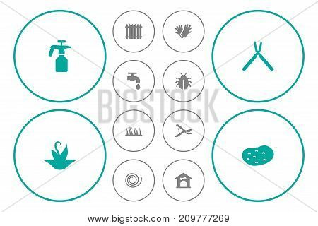 Collection Of Garden Hose, Scissors, Pruner And Other Elements.  Set Of 12 Horticulture Icons Set.