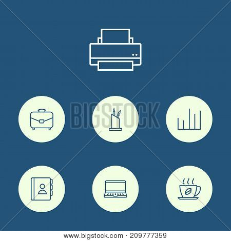Collection Of Hot Drink, Chart, Pen Storage And Other Elements.  Set Of 7 Cabinet Outline Icons Set.