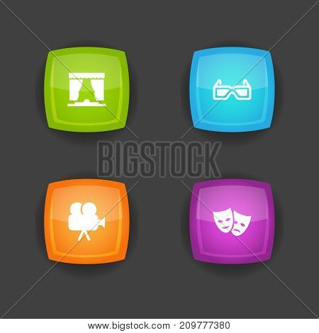 Collection Of Camera, Spectacles, Curtain And Other Elements.  Set Of 4 Amusement Icons Set.