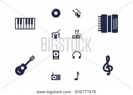 Collection Of Quaver, Amplifier, Fiddle And Other Elements.  Set Of 12 Music Icons Set.