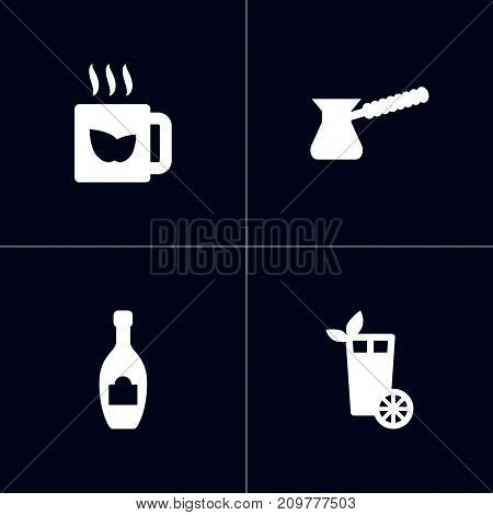 Collection Of Green Tea, Turkish Coffee, Alcohol And Other Elements.  Set Of 4 Drinks Icons Set.