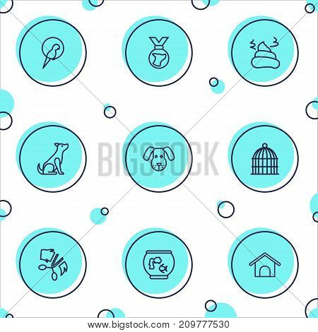 Collection Of Aquarium, Medal, Kennel And Other Elements.  Set Of 9 Animals Outline Icons Set.