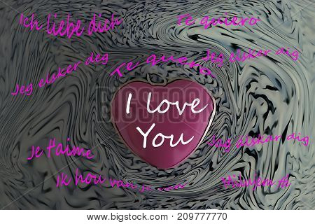 Ilustration I love you in several languages and a heart