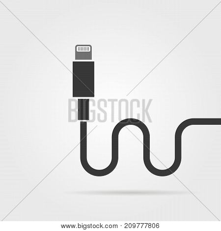 black lightning connector with shadow. concept of connection, standard input, booster charge, signal, equipment, type-c innovation. flat style trend modern design vector illustration on background
