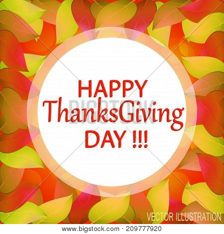 Happy Thanksgiving day. Autumn background with yellow leaves. Templates for place cards banners presentations reports. Stock vector illustration.
