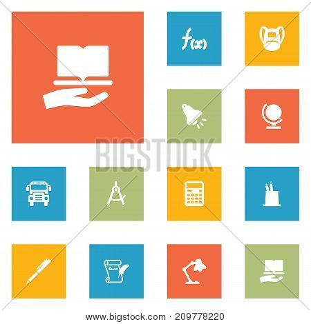 Collection Of Ringing, Geometry, Learning And Other Elements.  Set Of 12 Knowledge Icons Set.