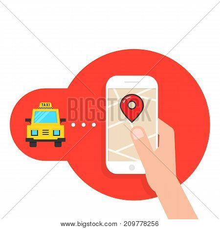 taxi call through mobile application. concept of commuter taxicab, user friendly, trip, drive, nfc, transfer, transit, tour. flat style modern logotype design vector illustration on white background