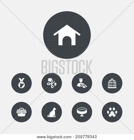 Collection Of Veterinarian, Birdcage, Pet Crate And Other Elements.  Set Of 9 Pets Icons Set.