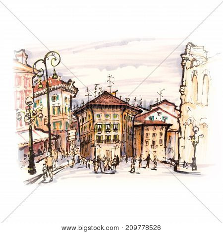 Typical Italian houses near Arena di Verona on the square Piazza Bra, Verona, Italy. Picture made with markers