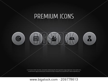 Collection Of Date, Aviator, Radiolocator And Other Elements.  Set Of 5 Plane Icons Set.