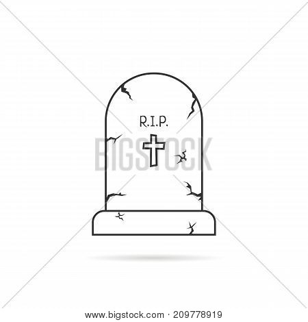 thin line simple tombstone. concept of affliction, fatal, abbey, funerary, crypt, mystery, mournful, funereal. flat style trend modern unusual logo design art vector illustration on white background