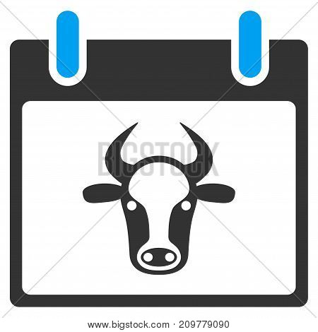 Cow Calendar Page vector icon. Flat bicolor blue and gray symbol. Pictogram is isolated on a white background. Designed for web and software interfaces.