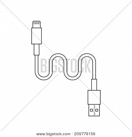 thin line usb lightning charging cable. concept of connection, tech, cell phone accessories, recharge, data transmission. flat style trend modern design vector illustration on white background