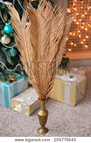 Christmas and New Year decor of the interior. boxes with gifts to lie under the Christmas tree