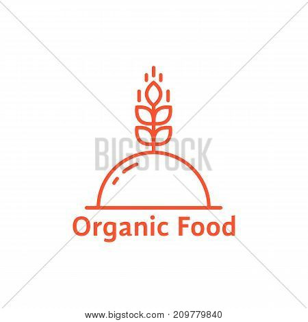 red dish like organic food logo. concept of unusual spikelet, catering platter, eco diet, vegetarian, raw, serving plant. flat style modern brand graphic design vector illustration on white background