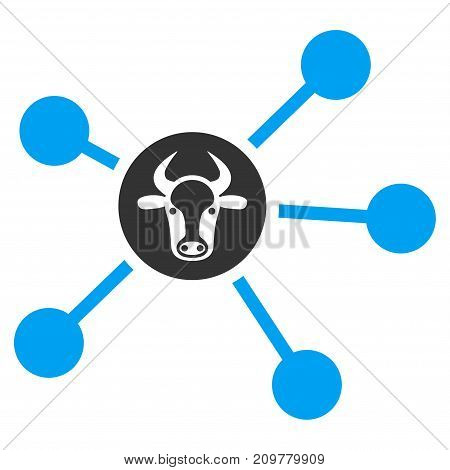 Cow Links vector icon. Flat bicolor blue and gray symbol. Pictogram is isolated on a white background. Designed for web and software interfaces.