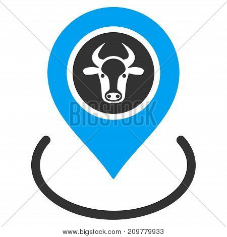 Cow Location vector icon. Flat bicolor blue and gray symbol. Pictogram is isolated on a white background. Designed for web and software interfaces.