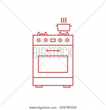red thin line gas stove icon. concept of combined heater, dinner cooking, bake, indoor preparation, fully equipped gas-range. flat style trend modern logo graphic design element on white background