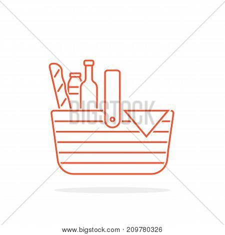 red thin line basket icon for picnic. concept of french culture resting, leisure, rural party, vintage bottle, relax. flat style trend modern logotype graphic design on white background