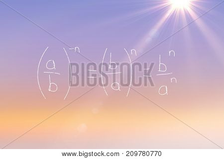 Divisions over black background against sunrise sky