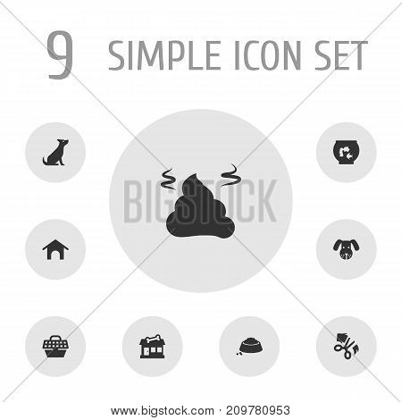 Collection Of Scissor, Pet Crate, Pile And Other Elements.  Set Of 9 Animals Icons Set.