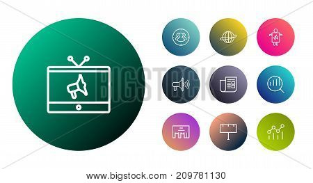 Collection Of Tv, Research, Campaign And Other Elements.  Set Of 10 Advertising Outline Icons Set.