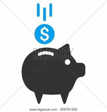 Deposit Piggy Bank vector icon. Flat bicolor blue and gray symbol. Pictogram is isolated on a white background. Designed for web and software interfaces.