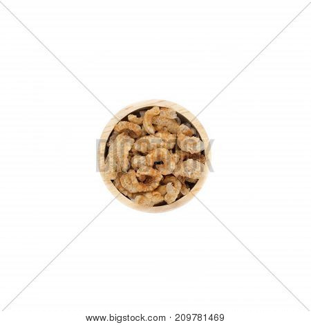 bowl wood stacked high with pork rind top view
