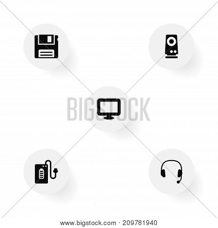 Collection Of Supply, Amplifier, Display And Other Elements.  Set Of 5 Laptop Icons Set.