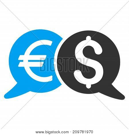 International Payments vector icon. Flat bicolor blue and gray symbol. Pictogram is isolated on a white background. Designed for web and software interfaces.