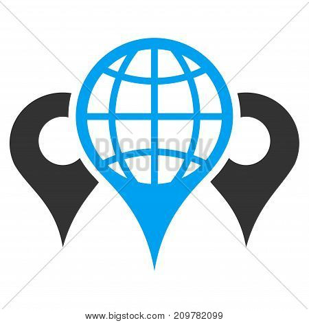 Locations vector icon. Flat bicolor blue and gray symbol. Pictogram is isolated on a white background. Designed for web and software interfaces.