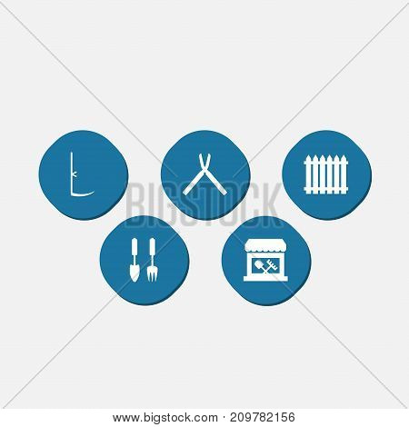 Collection Of Scissors, Fence, Cutter And Other Elements.  Set Of 5 Farm Icons Set.