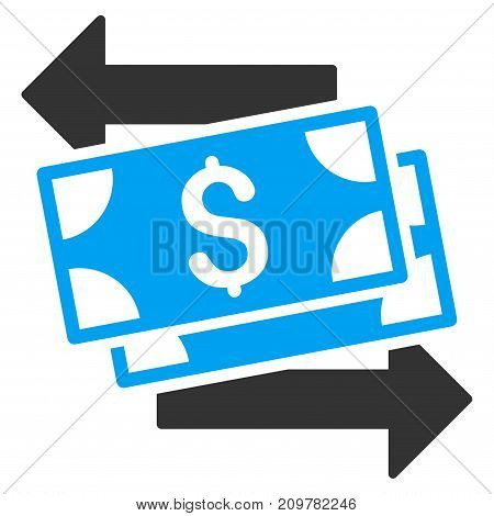 Money Exchange vector icon. Flat bicolor blue and gray symbol. Pictogram is isolated on a white background. Designed for web and software interfaces.