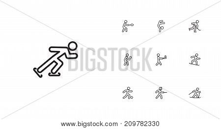 Collection Of Soccer, Ski Running, Ice Skating And Other Elements.  Set Of 10 Sport Outline Icons Set.