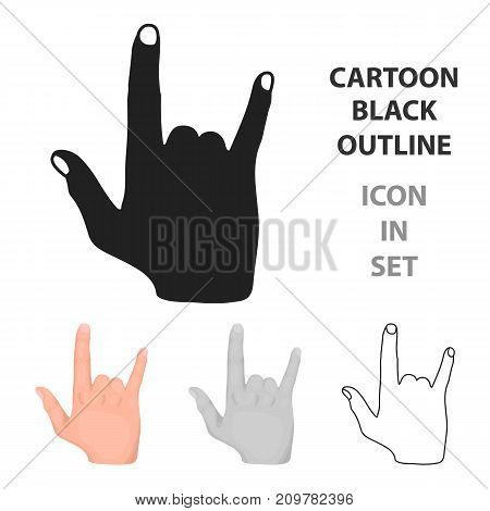 ILY sign icon in cartoon style isolated on white background. Hand gestures symbol vector illustration.
