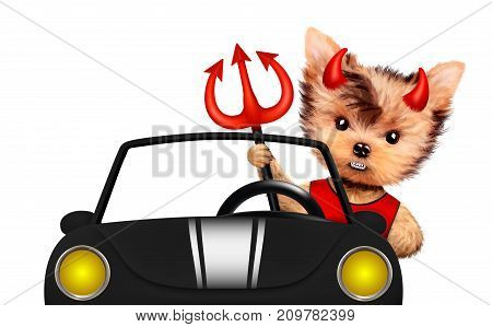Funny cartoon animal Devil sit in black car. Halloween and Evil concept. Realistic 3D illustration.