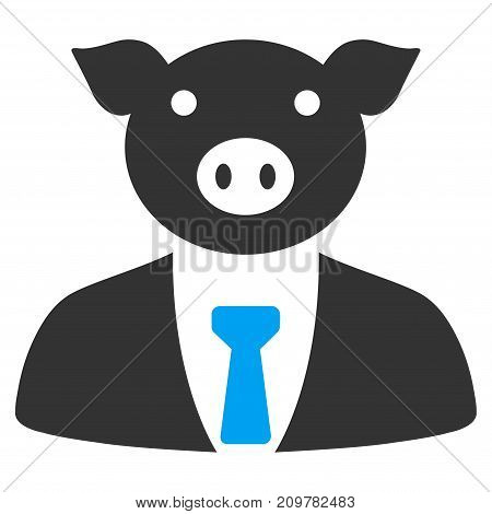 Pig Boss vector icon. Flat bicolor blue and gray symbol. Pictogram is isolated on a white background. Designed for web and software interfaces.