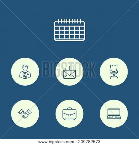 Collection Of Date, Administrator, Notebook And Other Elements.  Set Of 7 Work Outline Icons Set.