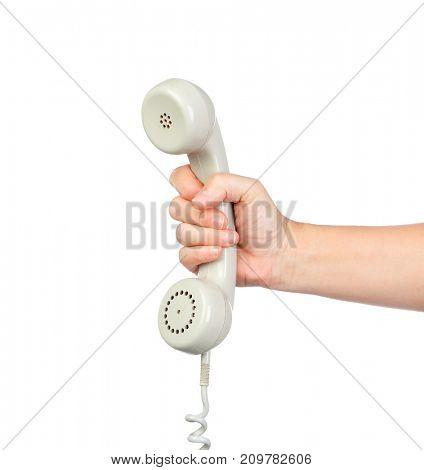 Grey vintage telephone isolated on white background.