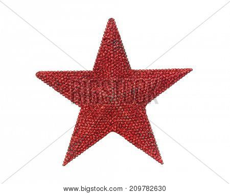 Bright red Christmas star isolated on a white background