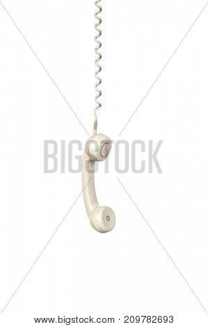 Grey vintage telephone isolated on white background.