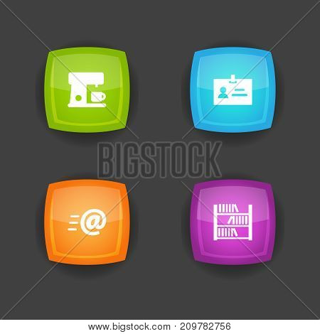 Collection Of Data, Book, Message And Other Elements.  Set Of 4 Office Icons Set.