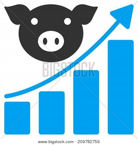 Pig Growing Chart vector icon. Flat bicolor blue and gray symbol. Pictogram is isolated on a white background. Designed for web and software interfaces.