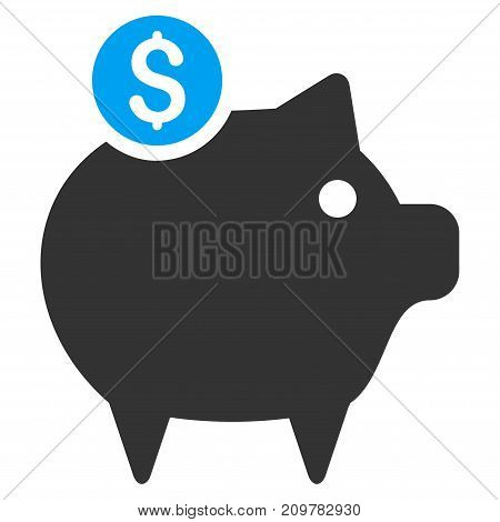 Piggy Bank vector icon. Flat bicolor blue and gray symbol. Pictogram is isolated on a white background. Designed for web and software interfaces.