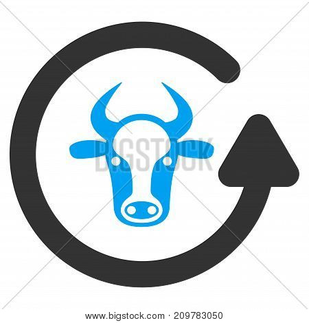 Refresh Bull vector icon. Flat bicolor blue and gray symbol. Pictogram is isolated on a white background. Designed for web and software interfaces.