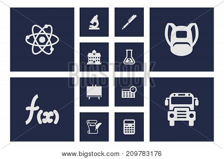 Collection Of Molecule, University, Blackboard And Other Elements.  Set Of 12 School Icons Set.
